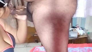 Indian Wife Sucking Cock and Swallowing Cum